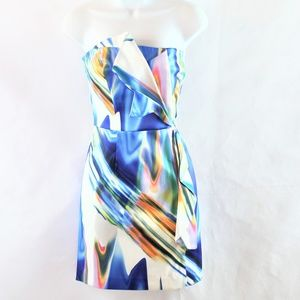 Bebe Strapless Watercolor Mini Dress